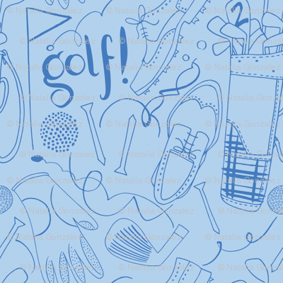 Golf pattern in blue tones