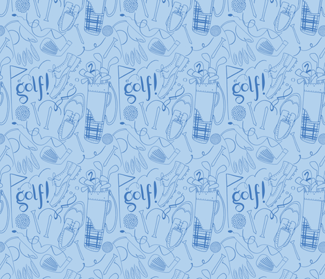 Golf pattern in blue tones fabric by natalia_gonzalez on Spoonflower - custom fabric