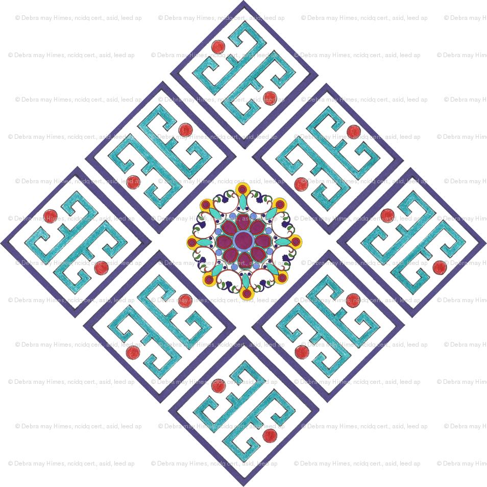 Southwest Border Fret Pattern Diamond Giftwrap Debramayhimes