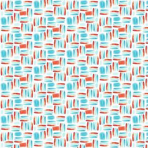 Little Watercolor Stripes Pattern in Orange & Blue