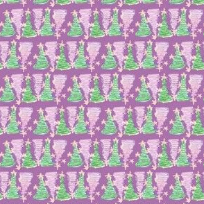 christmas trees in a row pink