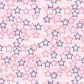 Pink Watercolor And Blue Stars