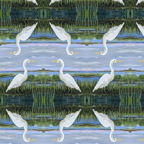 Erica Lindberg White Egrets on Green