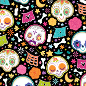 Day Of The Dead Pattern - Black Larger
