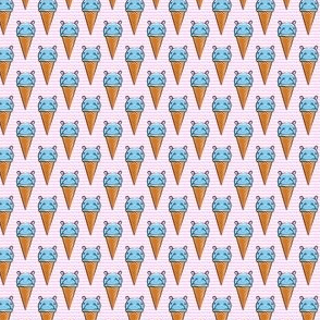 "(3/4"" scale) Hippopotamus ice cream cone - blue on pink"