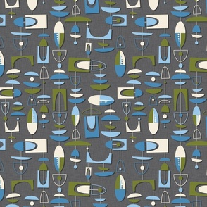 mid century motion - olive and blue