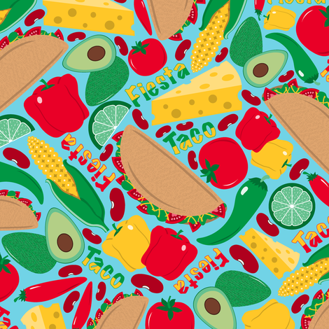 Taco Fiesta fabric by jjtrends on Spoonflower - custom fabric