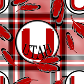 Utah Utes Team Colors Feathers on Plaid