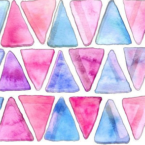 Candy Floss Watercolor Triangles - Big