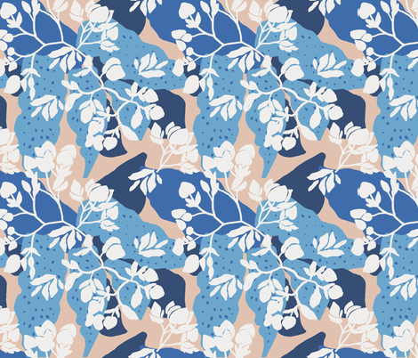 Blue layered floral on a neutral base fabric by patternanddesign on Spoonflower - custom fabric