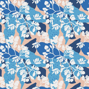 Blue layered floral on a neutral base