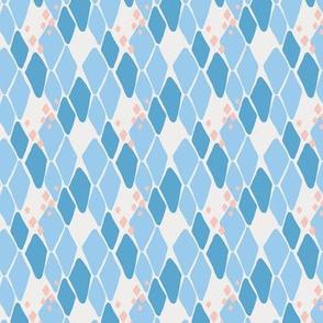 Tonal blue diamond pattern on a cream base