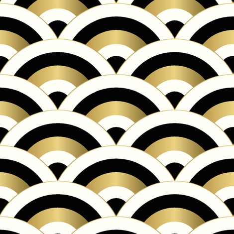 art deco scales - golden beige fabric by vivdesign on Spoonflower - custom fabric