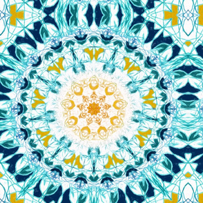 Symmetrical Mustard & Teal Mandala - Big