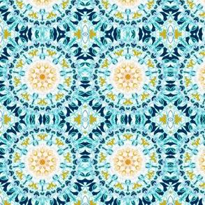 Symmetrical Mustard & Teal Mandala - Small