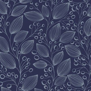 froral patter navy blue