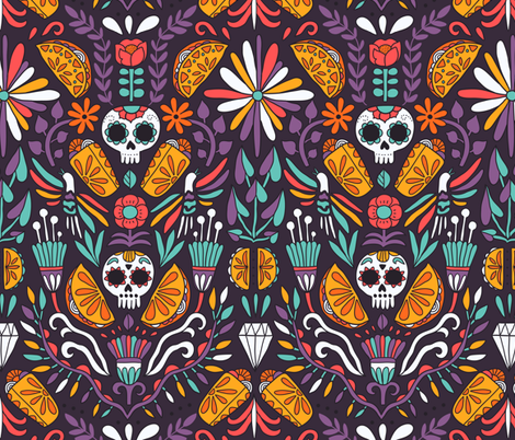 Mexican food calaveras tacos burritos2 fabric by kostolom3000 on Spoonflower - custom fabric