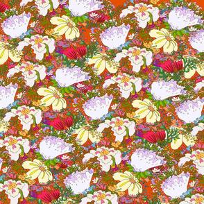 wildflowers Illustration Bright Red
