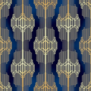 Art Deco - Rich Gold on Blue Opulence