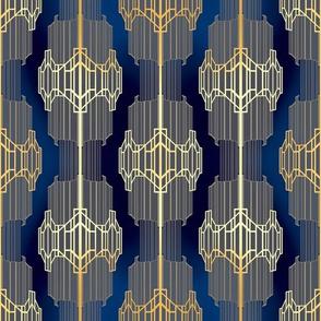 Art Deco - Rich Gold on Blue Opulence