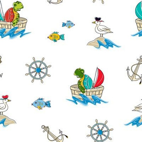 Kids Turtles Nautical Print