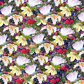 wildflowers Illustration dark Blue
