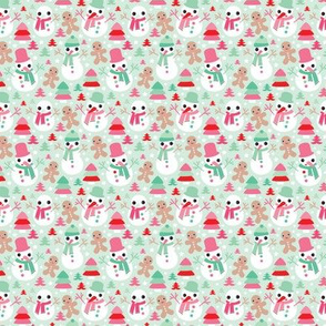 Colorful christmas theme with snowman and gingerbread man christmas trees and stars in mint and red SMALL
