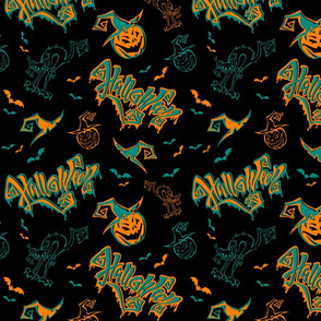 Seamless pattern. Halloween. Lettering. Funny cartoon pumpkin monster in witch hat. Bat. Cat monster.