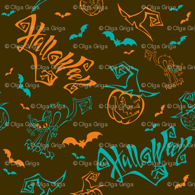 Halloween. Lettering. Funny cartoon pumpkin monster in witch hat.  Patchwork print.
