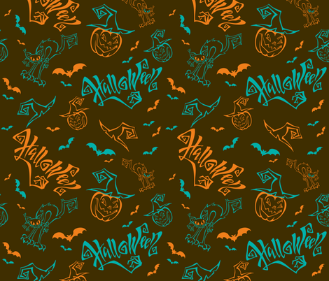 Halloween. Lettering. Funny cartoon pumpkin monster in witch hat.  Patchwork print.  fabric by olga_griga on Spoonflower - custom fabric