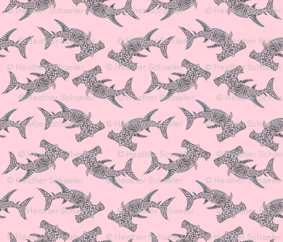 Large Grey Hammerhead on Pink