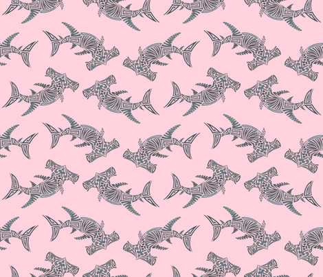Large Grey Hammerhead on Pink fabric by artsytoocreations on Spoonflower - custom fabric
