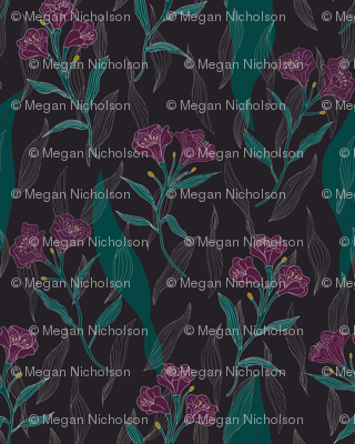 Rperuvian-lily-and-blue-leaves-print_preview