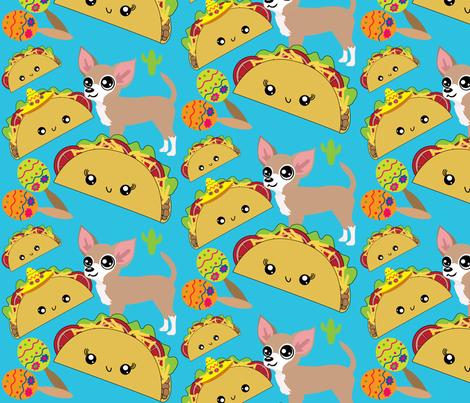Taco & Chihuahua fabric by myartbylynnette on Spoonflower - custom fabric
