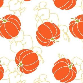 orange pumpkins on gold vines