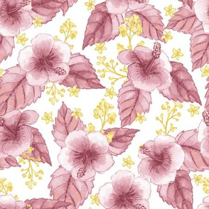 Pink Hibiscus Watercolour Floral