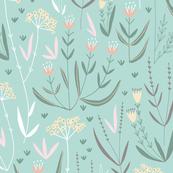 Wildflower Meadow // country garden flowers on mint green