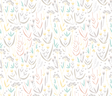 Wildflower Meadow // soft pastel florals and grasses perfect for home decor projects fabric by claire_elizabeth_illustration on Spoonflower - custom fabric