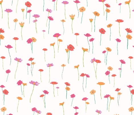 Purple Pink and Orange Flowers fabric by miridesign on Spoonflower - custom fabric