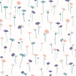 Teal Pink and White Flowers