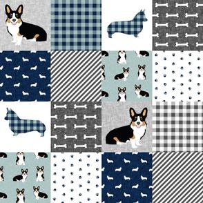 tri corgi dog fabric - pet quilt a dog, dogs, pet quilt patchwork