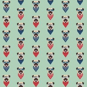 MINI - pug bandana, glasses, cute, dog, dogs, dog breed