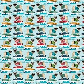 MINI - pug surfing, cute, summer dog dogs tropical summer dog