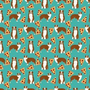 SMALL - aussie pizza fabric - australian shepherd red and tan tricolored aussie dog design
