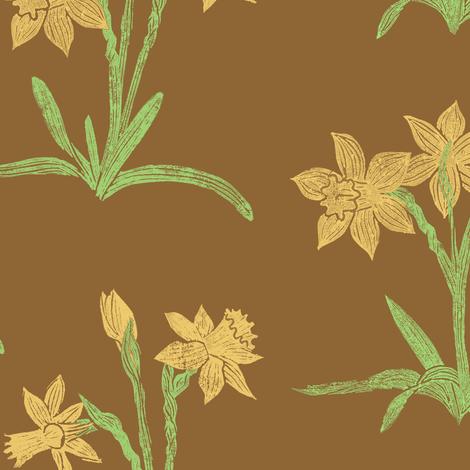 golden daffodils on brown fabric by weavingmajor on Spoonflower - custom fabric