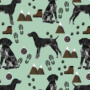 black and white german shorthaired pointer dog - hiking dogs fabric, dog, dogs, pet