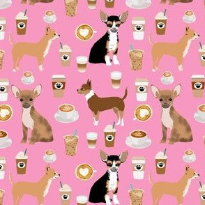 SMALL - chihuahuas dog fabric cute pink dog, dogs, chihuahuas coffees, latte, food