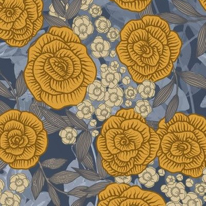 Yellow Roses on Blue Leaves