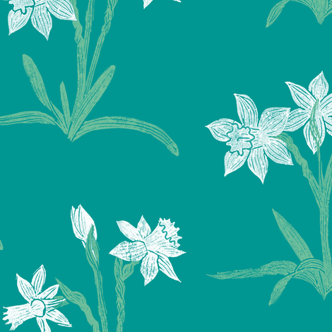 white narcissus on teal fabric by weavingmajor on Spoonflower - custom fabric