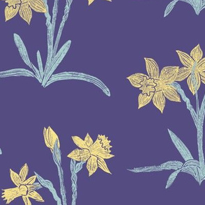 yellow daffodils on soft purple